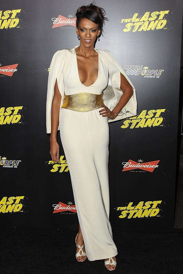 "HOLLYWOOD, CA - JANUARY 14:  Actress Judith Shekoni arrives at the premiere of Lionsgate Films' ""The Last Stand"" held at Grauman's Chinese Theatre on January 14, 2013 in Hollywood, California.  (Photo by Paul A. Hebert/Getty Images)"