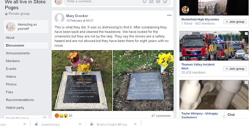 People took to Facebook to shame South Bucks Council for 'desecrating' loved ones' graves