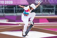 <p>Momiji Nishiya of Team Japan is seen mid-trick during the women's street competition. 13 year-old Nishiya won gold in the event, making her one of the youngest gold-medal winners in Olympic history</p>