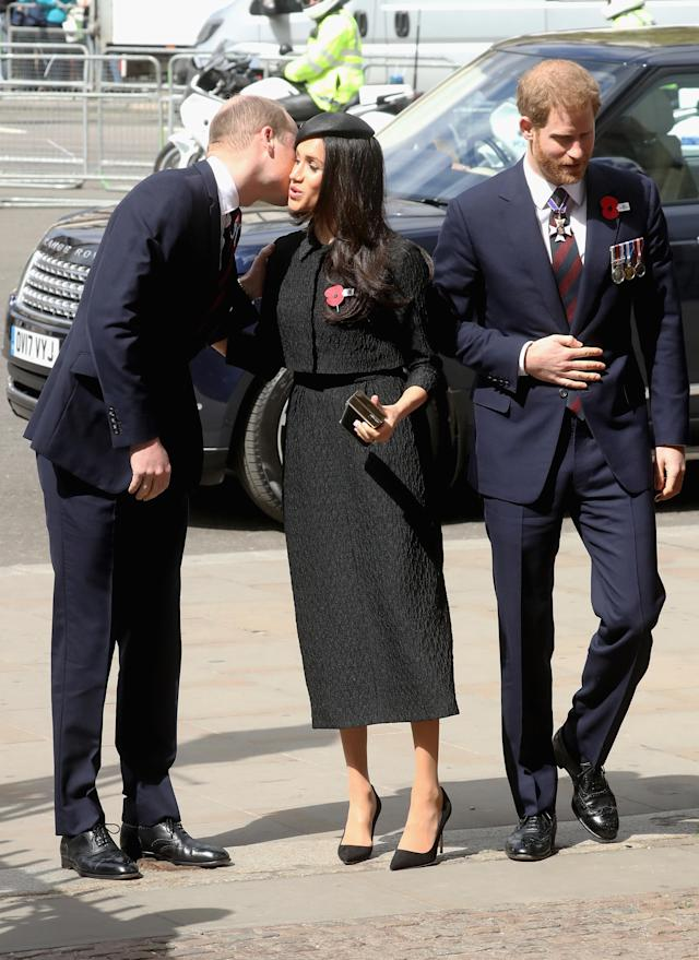 Markle greeted Prince William outside Westminster Abbey. (Photo: Chris Jackson/Getty Images)
