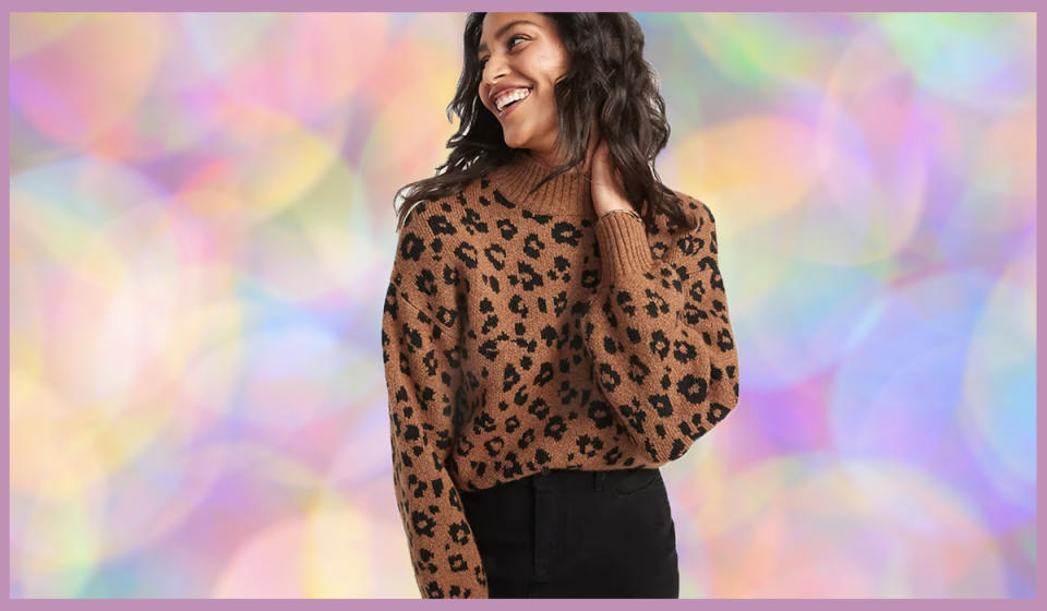 How gorgeous is this leopard knit? (Photo: Old Navy)