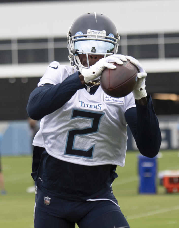 Tennessee Titans wide receiver Julio Jones pulls in a pass during an NFL football practice Thursday, June 10, 2021, in Nashville, Tenn. (George Walker IV/Pool Photo via AP)