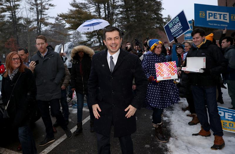 Pete Buttigieg visits a polling station outside Hopkinton High School February 11, 2020 in Hopkinton, New Hampshire. (Win McNamee/Getty Images)