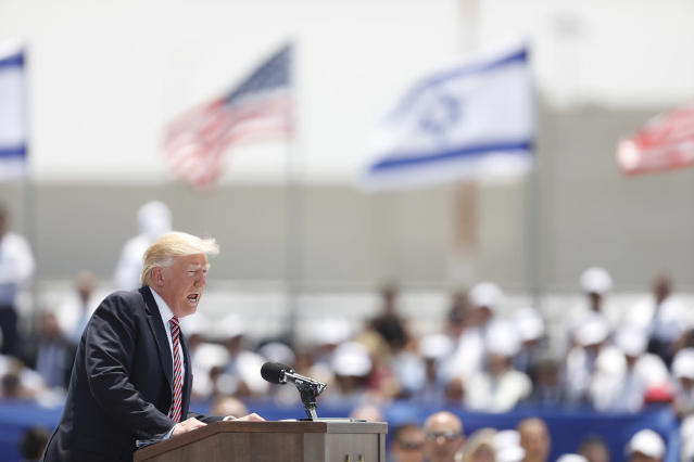 <p>U.S. President Donald J. Trump speaks on the podium after arriving at Ben Gurion Airport in Lod, outside Tel Aviv, Israel, May 22, 2017. Trump arrived for a 28-hour visit to Israel and the Palestinian Authority areas on his first foreign trip since taking office in January. (Photo: Abir Sultan/EPA) </p>