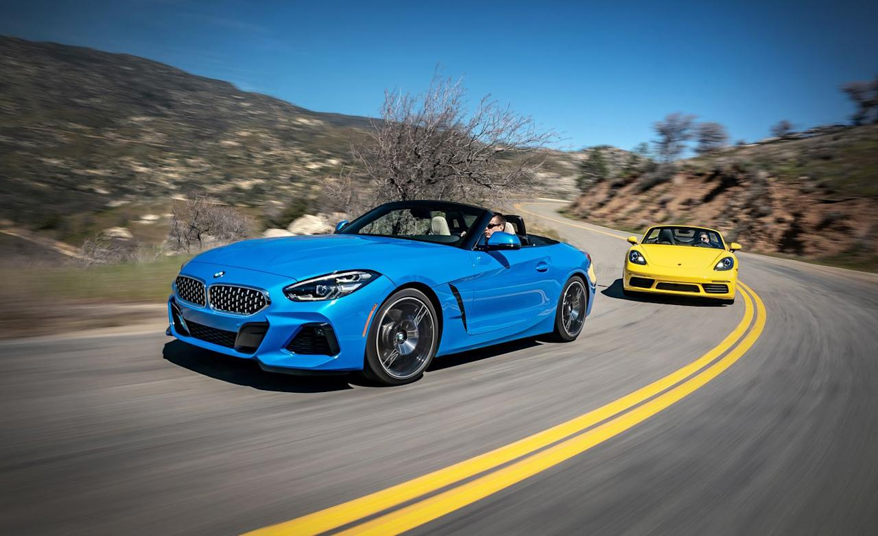 <p>After nearly a decade spent with a folding aluminum roof, the BMW Z4 returns to the Z car's roots as a softtop convertible and a coupe. Until the 382-hp Z4 M40i arrives later this year, BMW's sole offering is this sDrive30i, which drives its rear wheels with a 255-hp turbocharged 2.0-liter inline-four lashed to an eight-speed automatic. Pricing starts at $50,695 and swells quickly.</p>