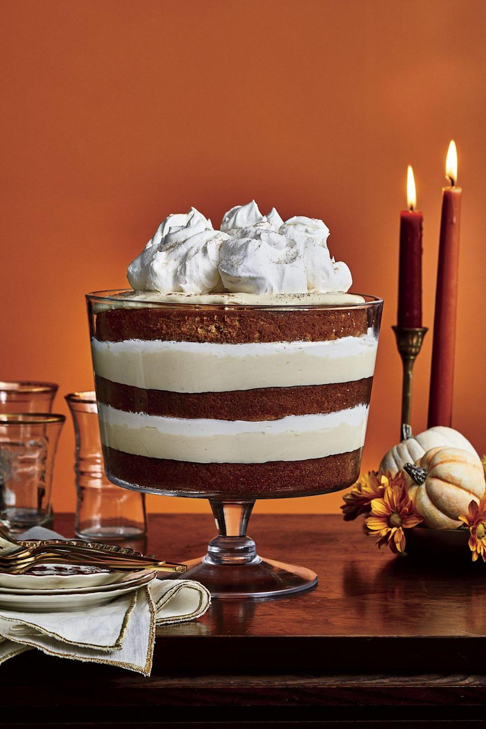 """<p><strong>Recipe: <a href=""""https://www.southernliving.com/recipes/butterscotch-spice-trifle"""" rel=""""nofollow noopener"""" target=""""_blank"""" data-ylk=""""slk:Butterscotch-Spice Trifle"""" class=""""link rapid-noclick-resp"""">Butterscotch-Spice Trifle</a></strong></p> <p>Thin layers of spice cake turn this vintage recipe into a modern masterpiece.</p>"""