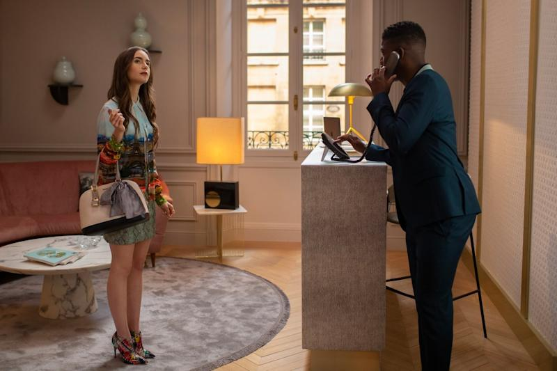 Lily Collins and Samuel Arnold in 'Emily in Paris' (Carole Bethuel/Netflix)
