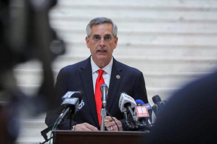 Georgia Secretary of State Brad Raffensperger gives an update on the state of the election and ballot count during a news conference at the State Capitol in Atlanta, Georgia