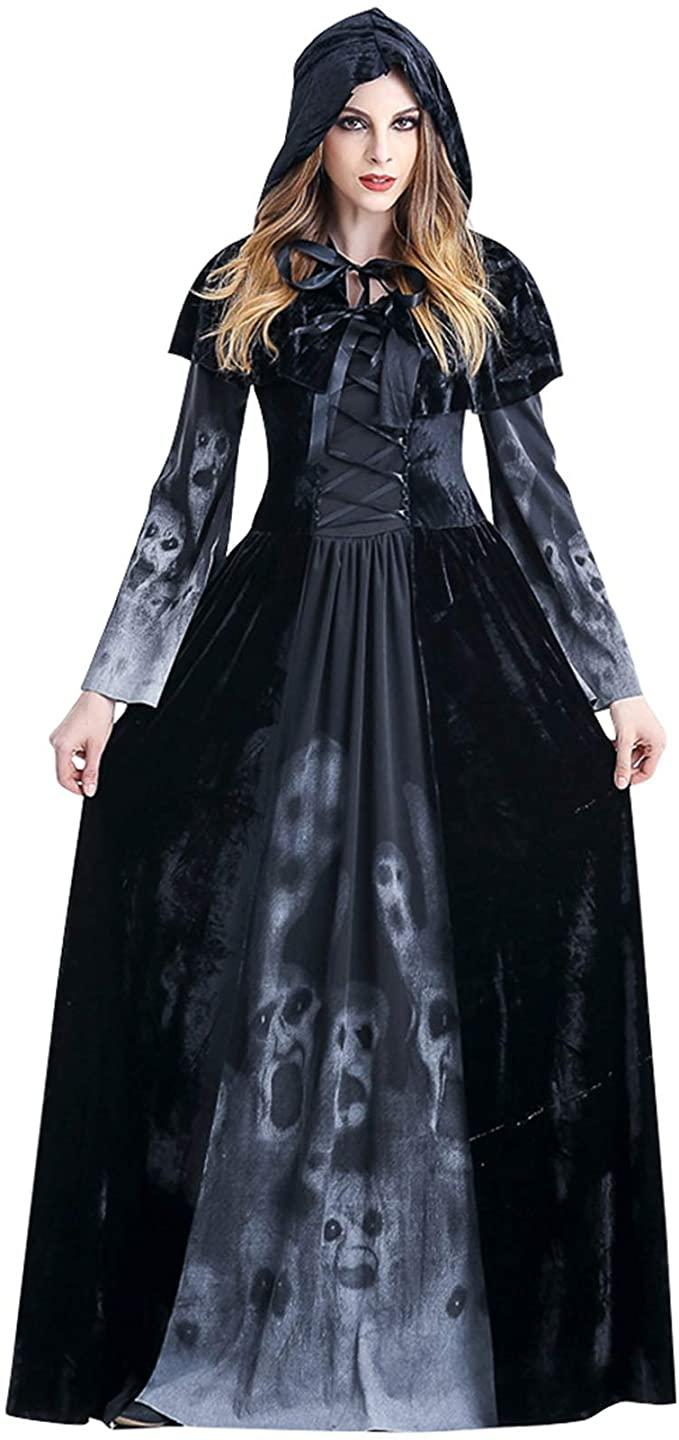 Woman dressed in long black Vampire Costume dress with matching hood