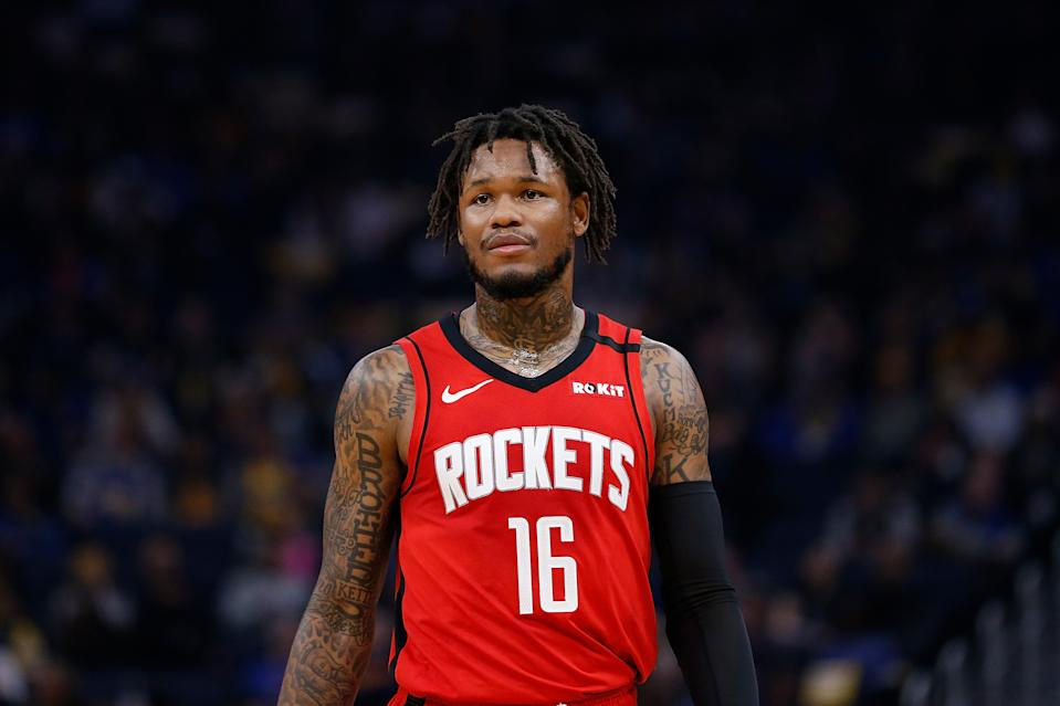SAN FRANCISCO, CALIFORNIA - FEBRUARY 20: Ben McLemore #16 of the Houston Rockets looks on in the first half against the Golden State Warriors at Chase Center on February 20, 2020 in San Francisco, California. NOTE TO USER: User expressly acknowledges and agrees that, by downloading and/or using this photograph, user is consenting to the terms and conditions of the Getty Images License Agreement. (Photo by Lachlan Cunningham/Getty Images)