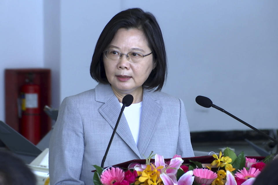 Taiwan President Tsai Ing-wen speaks during a visit to the Penghu Magong military air base in outlying Penghu Island, Taiwan Tuesday, Sept. 22, 2020. Tsai visited the military base on one of Taiwan's outlying islands Tuesday in a display of resolve following a recent show of force by rival China. (AP Photo/Johnson Lai)