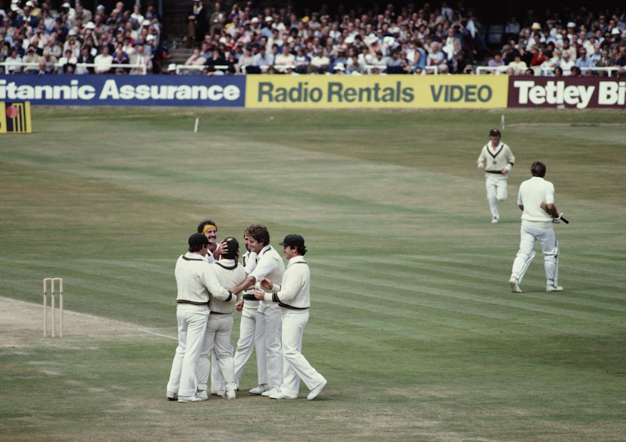 Dennis Lillee of Australia congratulates team mate Rodney Marsh on his world record for wicket keeper catches after the dismissal of Ian Botham during the 1st innings of the Third Ashes Test between England and Australia on 18th July 1981 at the Headingley Stadium in Leeds, United Kingdom.  (Photo by Adrian Murrell/Getty Images)