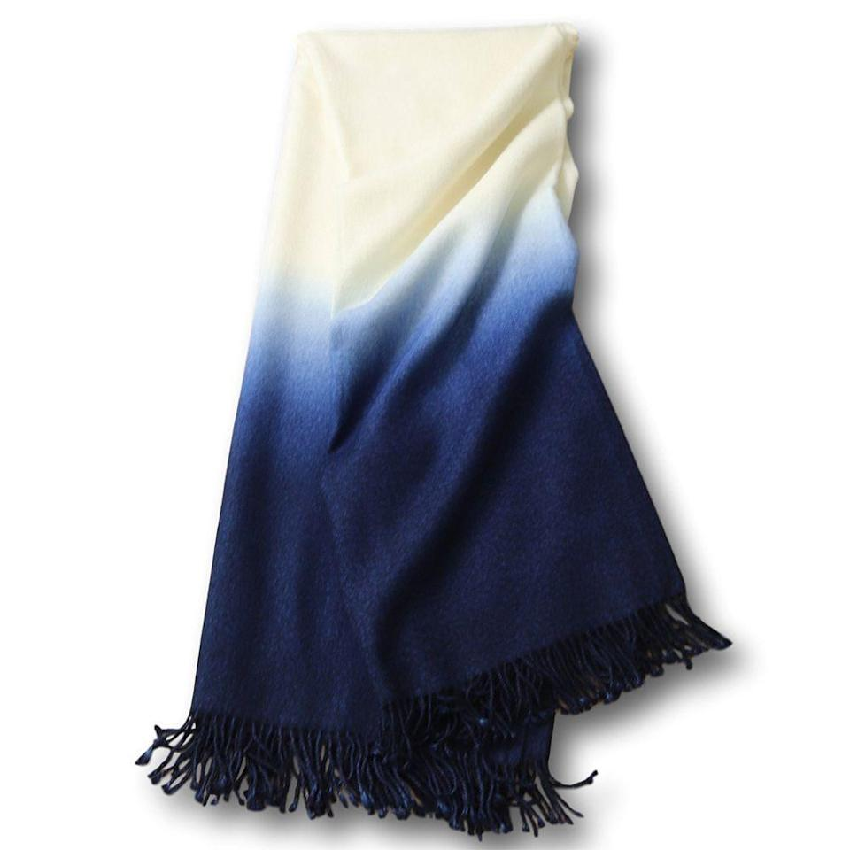 """<p><strong>Johanna Howard</strong></p><p>johannahoward.com</p><p><strong>$450.00</strong></p><p><a href=""""https://www.johannahoward.com/collections/throws/products/dip-dyed-throw"""" rel=""""nofollow noopener"""" target=""""_blank"""" data-ylk=""""slk:Shop Now"""" class=""""link rapid-noclick-resp"""">Shop Now</a></p><p>Ridiculously soft baby alpaca is hand dip-dyed to create this throw that's reminds us of dusk. </p>"""