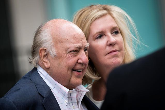 <p>Fox News chairman Roger Ailes walks with his wife, Elizabeth Tilson Ailes, as they leave the News Corp. building, July 19, 2016, in New York City. (Photo: Drew Angerer/Getty Images) </p>