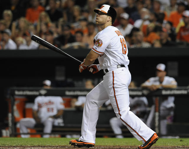 Baltimore Orioles' Chris Davis follows through on a two-run home run against the New York Yankees in the fourth inning of a baseball game, Sunday, July 13, 2014, in Baltimore.(AP Photo/Gail Burton)
