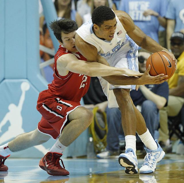 Davidson's Jake Belford, left, and teammate James Michael McAdoo, right, battle for the ball during the first half of an NCAA college basketball game in Chapel Hill, N.C., Saturday, Dec. 21, 2013. (AP Photo/Ellen Ozier)