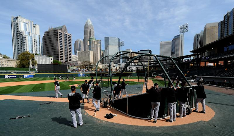 The Chicago White Sox take batting practice at BB&T BallPark in Charlotte, N.C., prior to an exhibition game against the Charlotte Knights on Friday, April 3, 2015. (Jeff Siner/Charlotte Observer/Tribune News Service via Getty Images)