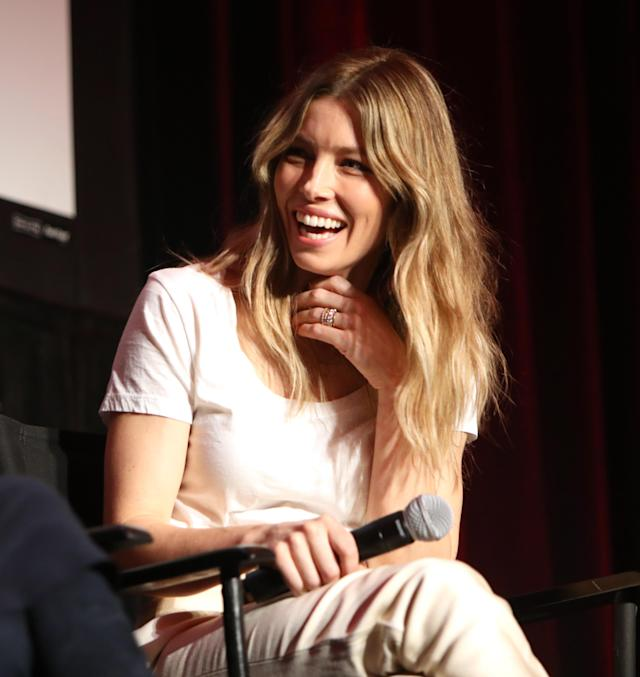 Jessica Biel speaks during the 2018 MAKERS Conference at the Hollywood Roosevelt Hotel on Feb. 6, 2018, in Los Angeles. (Photo: Rachel Murray/Getty Images for MAKERS)