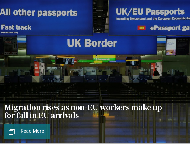 Migration rises as non-EU workers make up for fall in EU arrivals