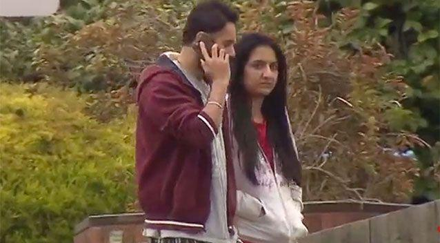 Gurleen Kaur (right) and her partner (pictured) were terrified after finding a man dead in their Ringwood driveway. Source: 7 News