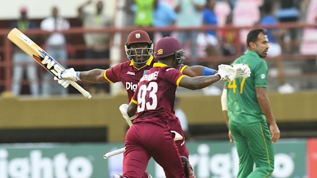 Jason Mohammed hit a brilliant 91 from 58 deliveries as West Indies drew first blood against Pakistan in Guyana.