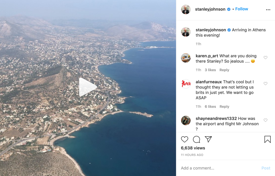 Stanley Johnson shared pictures from his flight to Athens, despite government guidance saying people shouldn't travel abroad. (Instagram/Stanley Johnson)