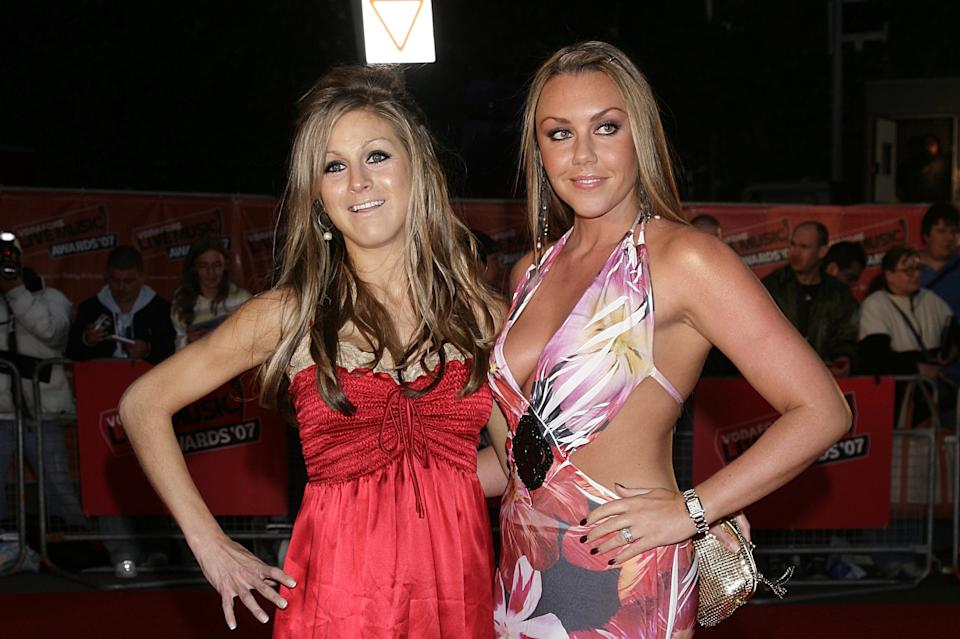 Nikki Grahame (left) and Michelle Heaton arrive at the Vodafone Live Music Awards 2007 at Brompton Hall, Earls Court, London, SW5.   (Photo by Yui Mok - PA Images/PA Images via Getty Images)