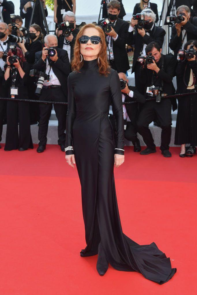 <p>The actor wore a black Balenciaga gown with sunglasses to the red carpet event.</p>