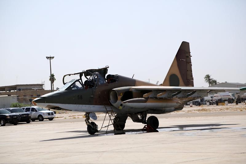 A picture released on July 1, 2014 by the Iraqi Ministry of Defence shows a Sukhoi Su-25 fighter jet recently delivered by Russia sitting at an army base in the capital Baghdad (AFP Photo/)