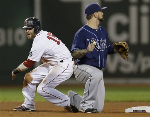 Boston Red Sox's Dustin Pedroia (15) steals second base as Tampa Bay Rays second baseman Ryan Roberts covers the bag during the sixth inning of a baseball game at Fenway Park in Boston, Wednesday, Sept. 26, 2012. It was Pedroia's 100th career steal. (AP Photo/Elise Amendola)