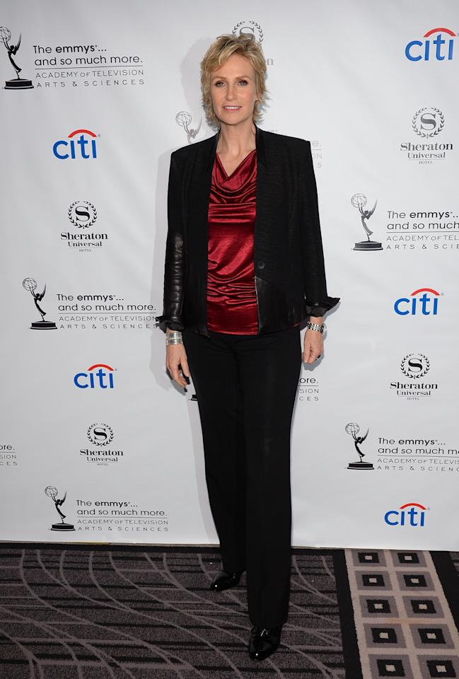 UNIVERSAL CITY, CA - AUGUST 19: Actress Jane Lynch arrives at the Academy of Television Arts & Sciences' Performers Peer Group cocktail reception to celebrate the 65th Primetime Emmy Awards at Sheraton Universal on August 19, 2013 in Universal City, California. (Photo by Mark Davis/Getty Images)