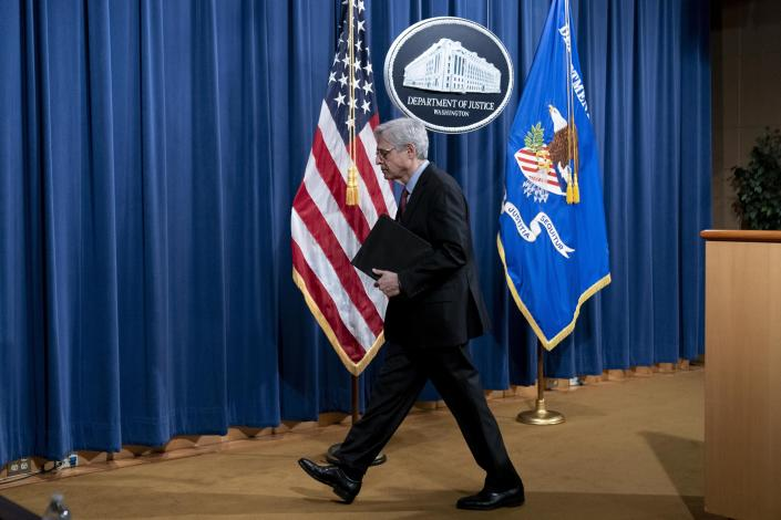 Attorney General Merrick Garland leaves after speaking about a jury's verdict in the case against former Minneapolis Police Officer Derek Chauvin in the death of George Floyd, at the Department of Justice, Wednesday, April 21, 2021, in Washington. (AP Photo/Andrew Harnik, Pool)