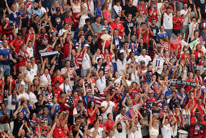 LYON, FRANCE - JULY 07: USA fans celebrate following their sides victory in the 2019 FIFA Women's World Cup France Final match between The United States of America and The Netherlands at Stade de Lyon on July 07, 2019 in Lyon, France. (Photo by Marianna Massey - FIFA/FIFA via Getty Images)