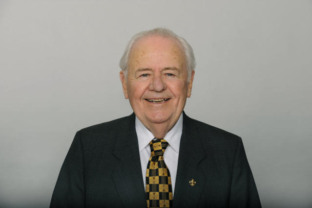 "File-This June 17, 2016, file photo shows Tom Benson of the New Orleans Saints NFL football team. Benson, a successful auto dealer who brought the New Orleans Saints their only winning seasons and the ""Benson Boogie,"" has died. Benson, who has also owned the NBAs New Orleans Pelicans since 2012, was 90. The NFL and NBA teams announced Bensons death on Thursday, March 15, 2018. (AP Photo/File)"