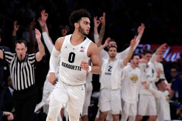 "<a class=""link rapid-noclick-resp"" href=""/ncaab/players/135987/"" data-ylk=""slk:Markus Howard"">Markus Howard</a>'s return could give Marquette a chance to compete for the Final Four next season. (AP)"