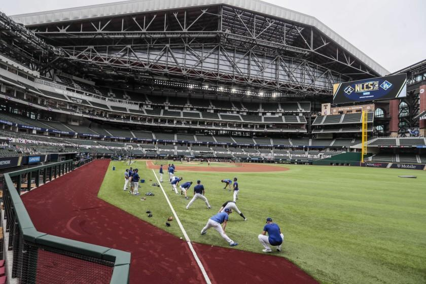 Arlington, Texas, Saturday, October 17, 2020. Dodgers warm up before game six of the NLCS at Globe Life Field. (Robert Gauthier/ Los Angeles Times)