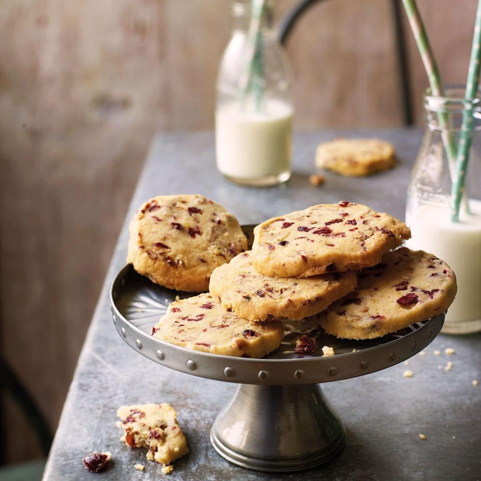 """<p>These cookies can be cooked from frozen, convenient to keep on hand for unexpected guests.</p><p><strong><br>Recipe: <a href=""""https://www.goodhousekeeping.com/uk/food/recipes/a549833/pecan-and-cranberry-freezer-cookies/"""" rel=""""nofollow noopener"""" target=""""_blank"""" data-ylk=""""slk:Pecan and cranberry freezer cookies"""" class=""""link rapid-noclick-resp"""">Pecan and cranberry freezer cookies</a></strong></p>"""
