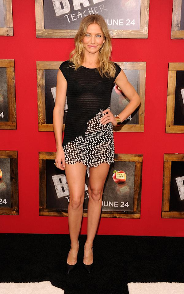 """<a href=""""http://movies.yahoo.com/movie/contributor/1800020297"""">Cameron Diaz</a> at the New York City premiere of <a href=""""http://movies.yahoo.com/movie/1810150690/info"""">Bad Teacher</a> on June 21, 2011."""