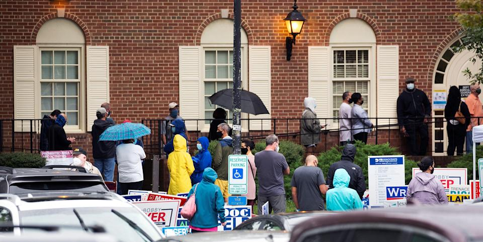Voters line up in Virginia Beach, Va., for early voting Sept. 18.