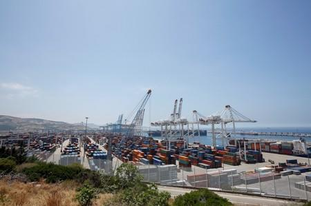 General view of Tanger-Med container port in Ksar Sghir near the coastal city of Tangier