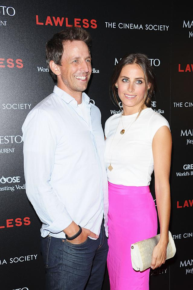 """Seth Meyers and Alexi Ashe at the New York Cinema Society screening of 'Lawless"""" on August 13, 2012."""