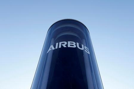 FILE PHOTO: The Airbus logo is pictured at Airbus headquarters in Blagnac near Toulouse, France, March 20, 2019.   REUTERS/Regis Duvignau