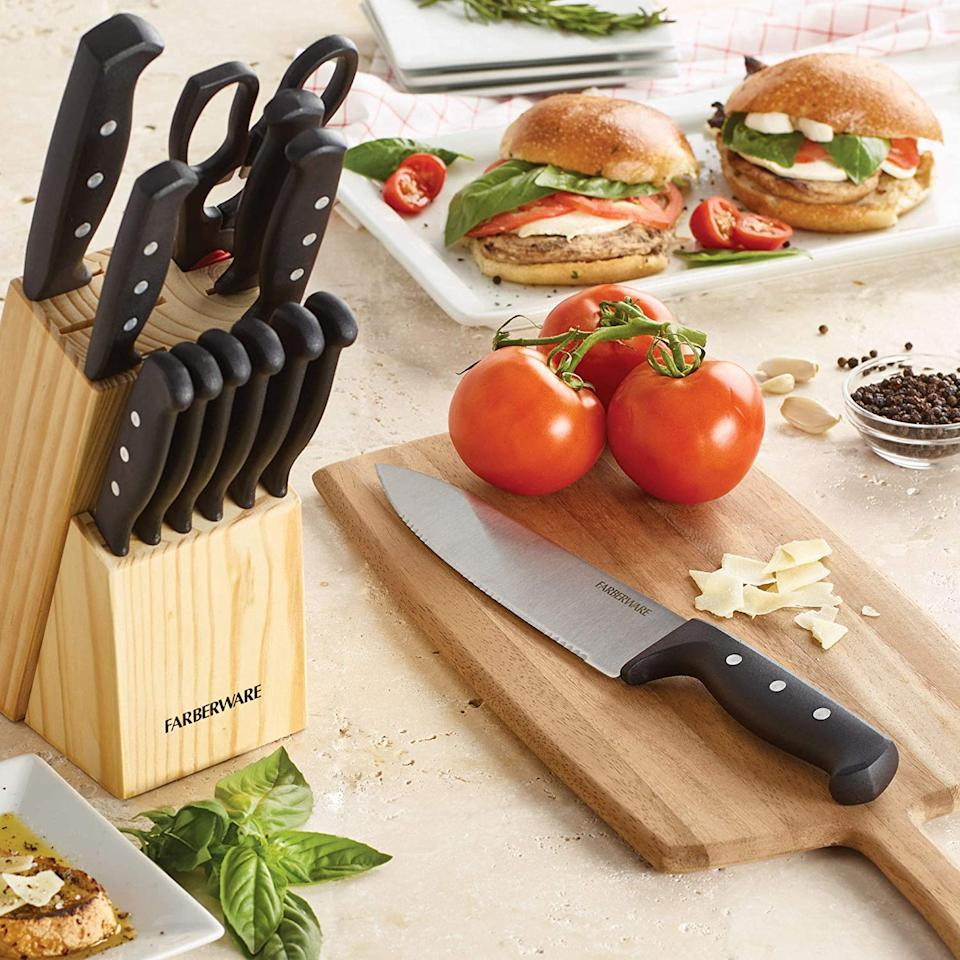 Every knife you need for meal prep — and the dinner table. Storage included! (Photo: Amazon)