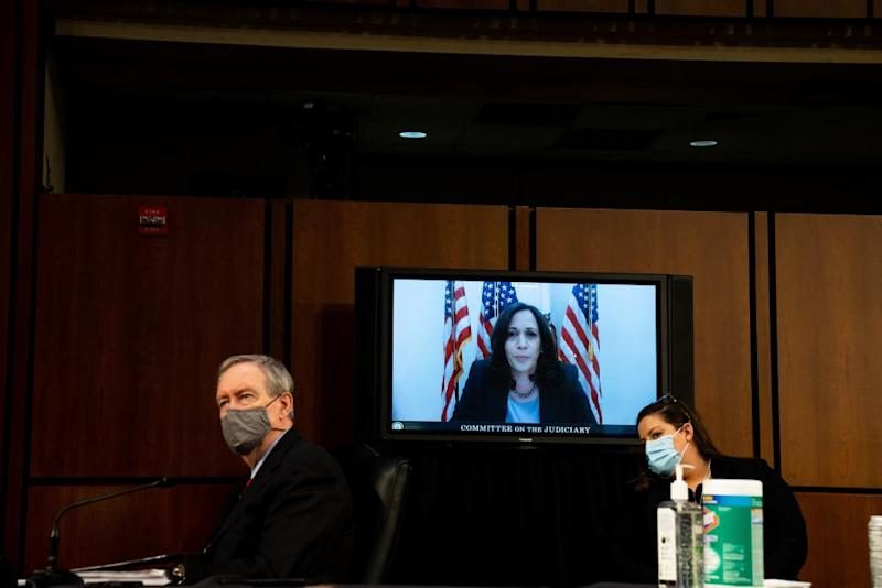Kamala Harris speaks remotely during the third day of the confirmation hearing.