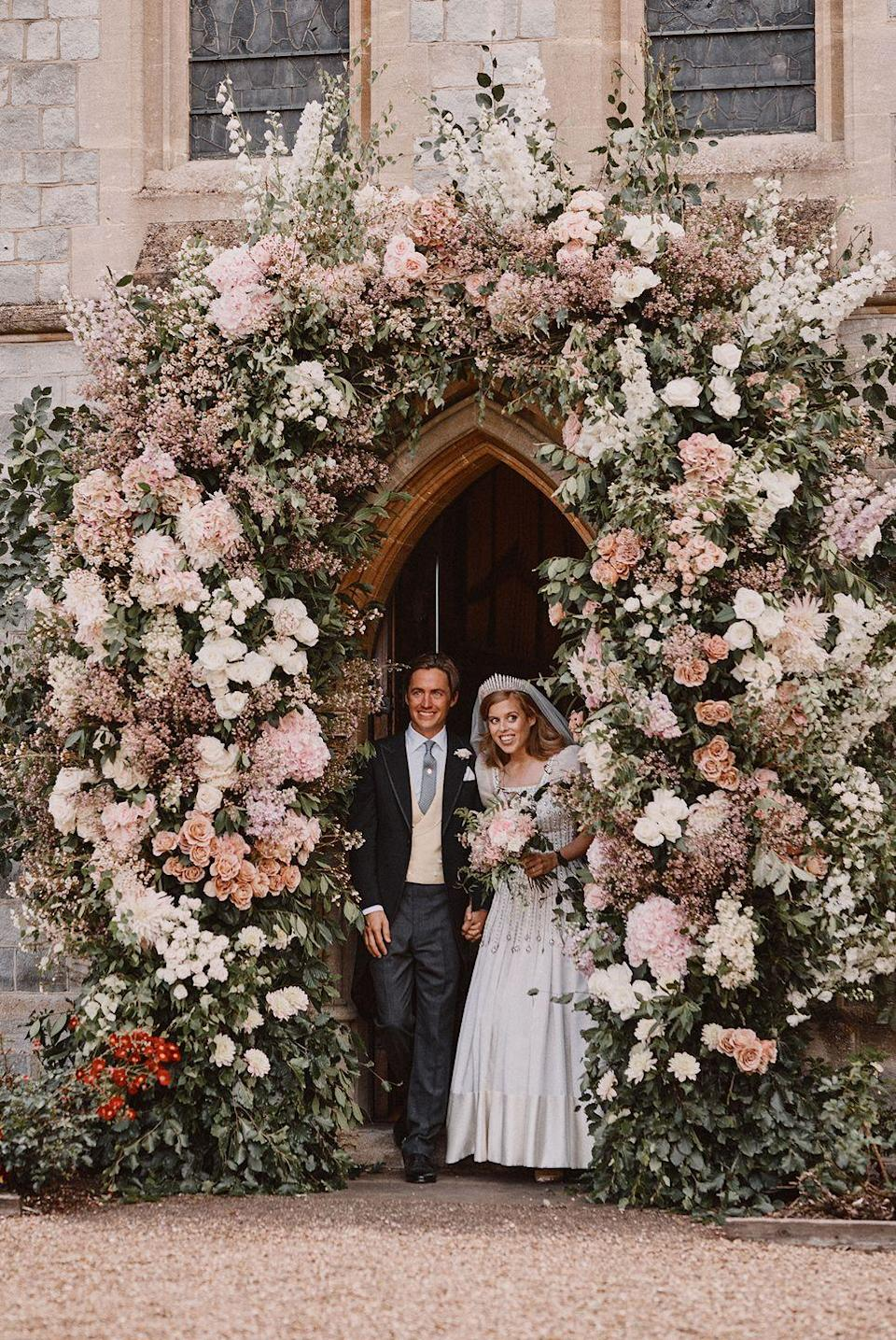 "<p><strong>Wedding date: </strong>7/17/2020</p><p><strong>Wedding tiara: </strong>Several elements of Princess Beatrice's private royal wedding checked the ""something borrowed"" box, but perhaps the most poignant was <a href=""https://www.townandcountrymag.com/society/tradition/a33354075/princess-beatrice-wedding-tiara-queen-mary-fringe/"" rel=""nofollow noopener"" target=""_blank"" data-ylk=""slk:her choice of tiara"" class=""link rapid-noclick-resp"">her choice of tiara</a>. Queen Elizabeth lent her granddaughter the Queen Mary Fringe tiara, the same sparkly accessory she had worn on her own wedding day in 1947.</p>"