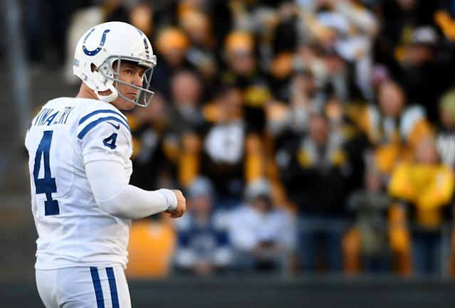 Adam Vinatieri's season went from bad to worse against the Steelers. (Justin Berl/Getty)