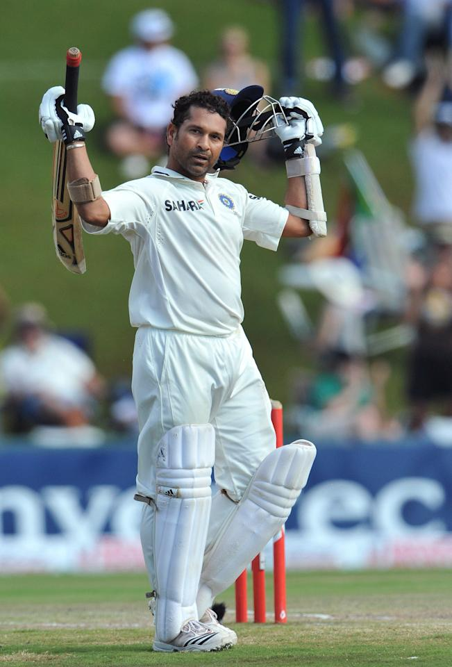 CENTURION, SOUTH AFRICA - DECEMBER 19: Sachin Tendulkar of India celebrates his 50th Test century during day 4 of the 1st Test match between South Africa and India at SuperSport Park on December 19, 2010 in Centurion, South Africa.  (Photo by Duif du Toit/Gallo Images/Getty Images)