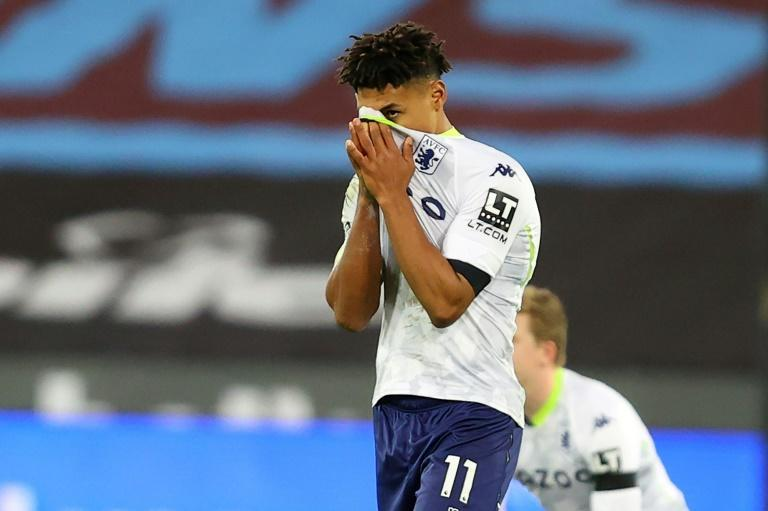 Aston Villa striker Ollie Watkins reacts after his late equaliser was disallowed