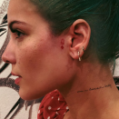 """<p>In honor of her song """"Castle,"""" the pop star got a queen symbol on the side of her face. She captioned it: """"Headed straight for the castle. <a class=""""link rapid-noclick-resp"""" href=""""https://www.instagram.com/nal.tattoo/"""" rel=""""nofollow noopener"""" target=""""_blank"""" data-ylk=""""slk:@nal.tattoo"""">@nal.tattoo</a> 💉💉 thanks for my first (and only hopefully lol) face tattoo ♦️♦️♦️♦️""""</p>"""