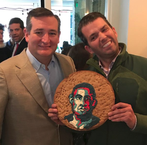 donald trump jr mocks barack obama with giant cookie in ted cruz